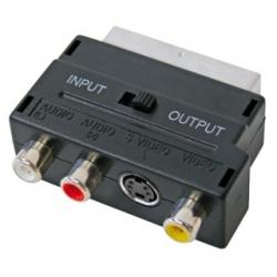 Adattatore Scart Spina 21 poli / 3 Prese RCA + S-VHS