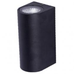 Applique da esterno a LED COB 3+3 W Bianco Caldo - Colore NERO