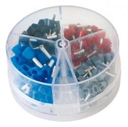 Assortimento terminali a punta doppio isolamento  0,75-2,5 mm.  200 pezzi