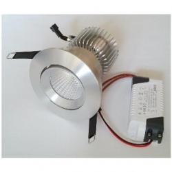 Faretto ARGENTO da incasso orientabile a Power LED 10 W Bianco Caldo