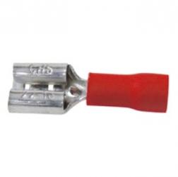 Faston isolati femmina 0,8 x 6,35 mm. Rossi 50 pezzi