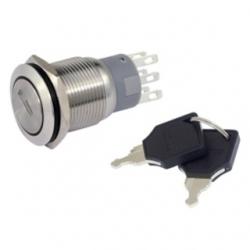 Interruttore a chiave 19 mm. in metallo, 3 posizioni