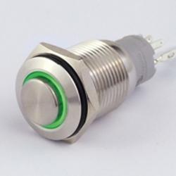 Interruttore in metallo 16 mm. 3 contatti, LED 12 V anello luminoso Verde IP 67