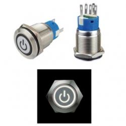 Interruttore in metallo 19 mm. 3 contatti, LED 12 V anello Bianco con simbolo ON/OFF