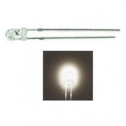 LED 3 mm. trasparente Bianco caldo 10 pezzi