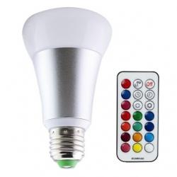 Lampadina LED 10 W E27 RGB+W con telecomando ARGENTO
