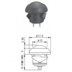 MS-381 nero - Interruttore a pulsante da pannelllo con autoritorno