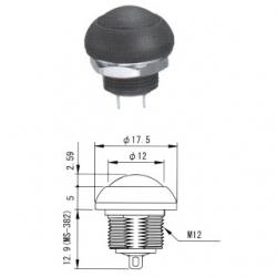 MS-383 nero - Interruttore a pulsante da pannelllo con autoritorno