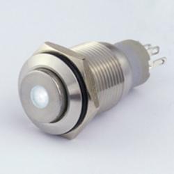 Interruttore in metallo 16 mm. 3 contatti, LED 12 V punto luminoso Bianco IP 67
