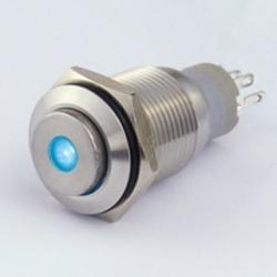 Interruttore in metallo 16 mm. 3 contatti, LED 12 V punto luminoso Blu IP 67
