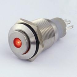 Interruttore in metallo 16 mm. 3 contatti, LED 12 V punto luminoso Rosso IP 67