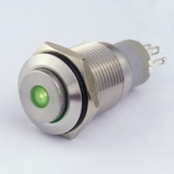 Interruttore in metallo 16 mm. 3 contatti, LED 12 V punto luminoso Verde IP 67